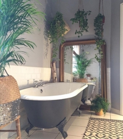 Bath.  Plants.  Mirror.  Sequins. How to take a viral picture by  @deecampling