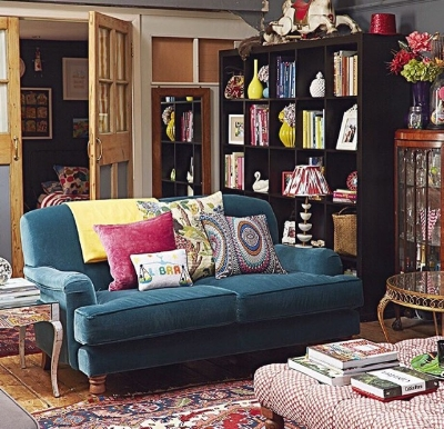 Sophie's sitting room - such fab riot of colour.