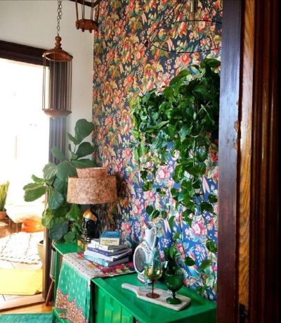 Stunning wallpaper and boho chic at the home of Kara Evans.