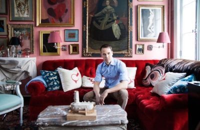 Miles Redd  in the living room of his townhouse in Manhattan's West Village.  Photograph courtesy of Lonny.com