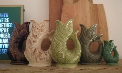My charity shop partner in crime,  Karen , has a fab collection of glug vases, all picked up for pounds.
