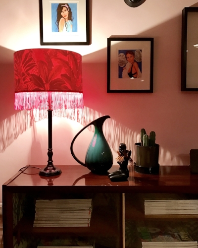 Neon pink.  Tick.  Tropical print.  Tick.   Fringing.  Tick.  My  Love Frankie  lampshade and I are a match made in heaven.
