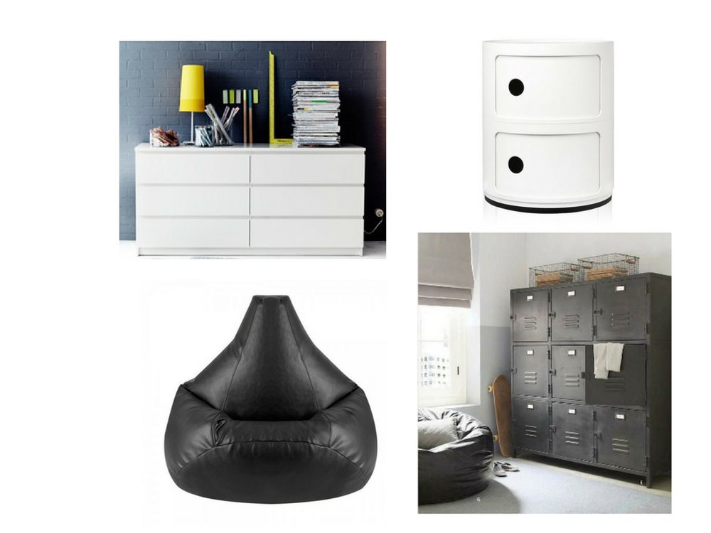 From left:  IKEA, Componibili, Bean Bag Bazaar, Maisons Du Monde