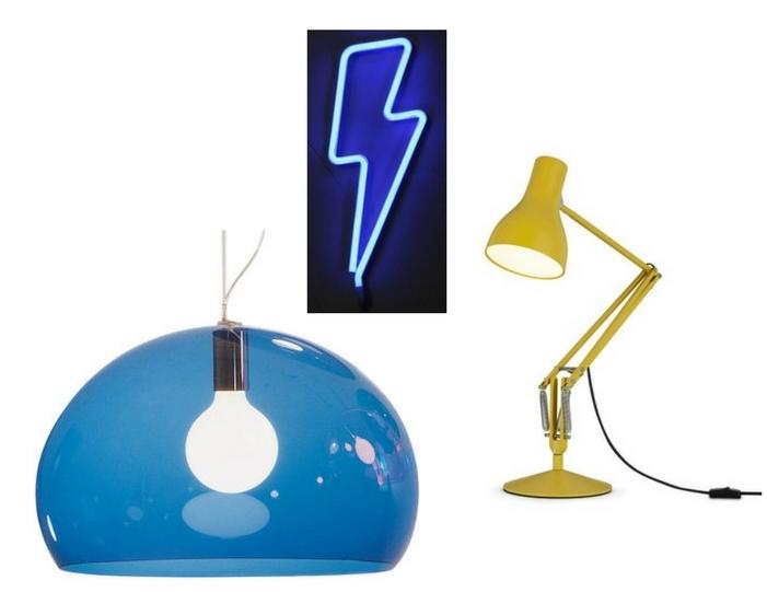 Kartell Fly Lamp , Nest.co.uk;  Neon Bolt , Violet & Thistle;  Anglepoise , Nest.co.uk