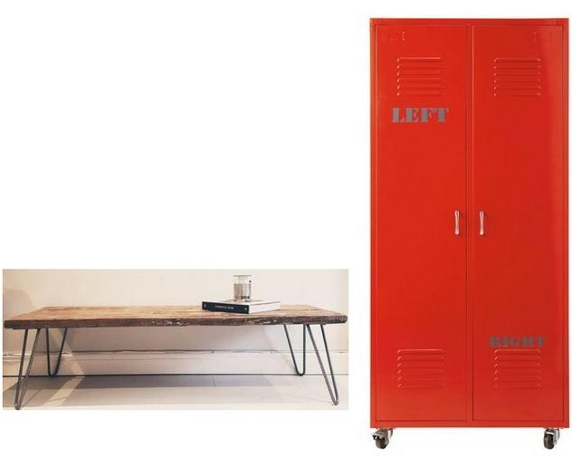 Recycled hairpin bench , Bear & Wolf. Metal locker,  LOFT , Maisons Du Monde