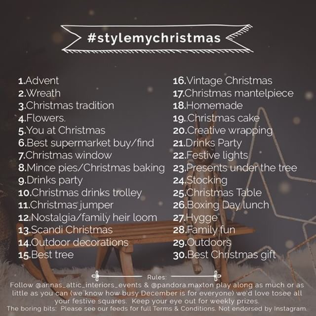Here's a good one to get involved with for December - #stylemychristmas will be launched this month by  Pandora Maxton  and  Anna Straw .