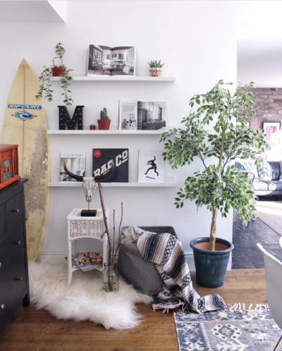 Katty of  One Four Six  has used ledges to display her favourite magazines, small plants and vintage vinyl. Super clever.