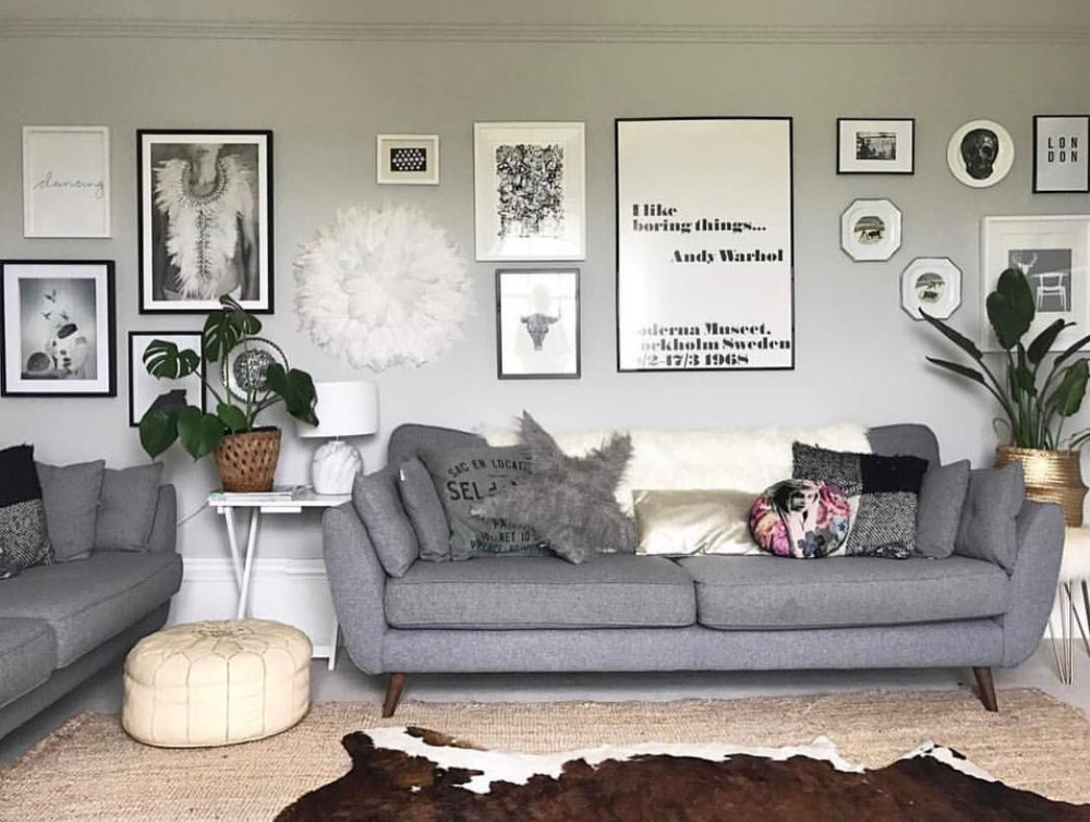 Prior to redecorating my sitting room for  Revamp Restyle Reveal , I created a gallery wall by using different media along the same monochrome theme.