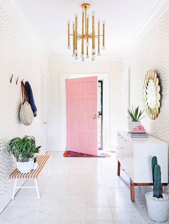 Entry hall goals by the amazing  Elsie Larson  of  A Beautiful Mess .  See a similar take on this mirror below.  Photo credit:   Alyssa Rosenheck