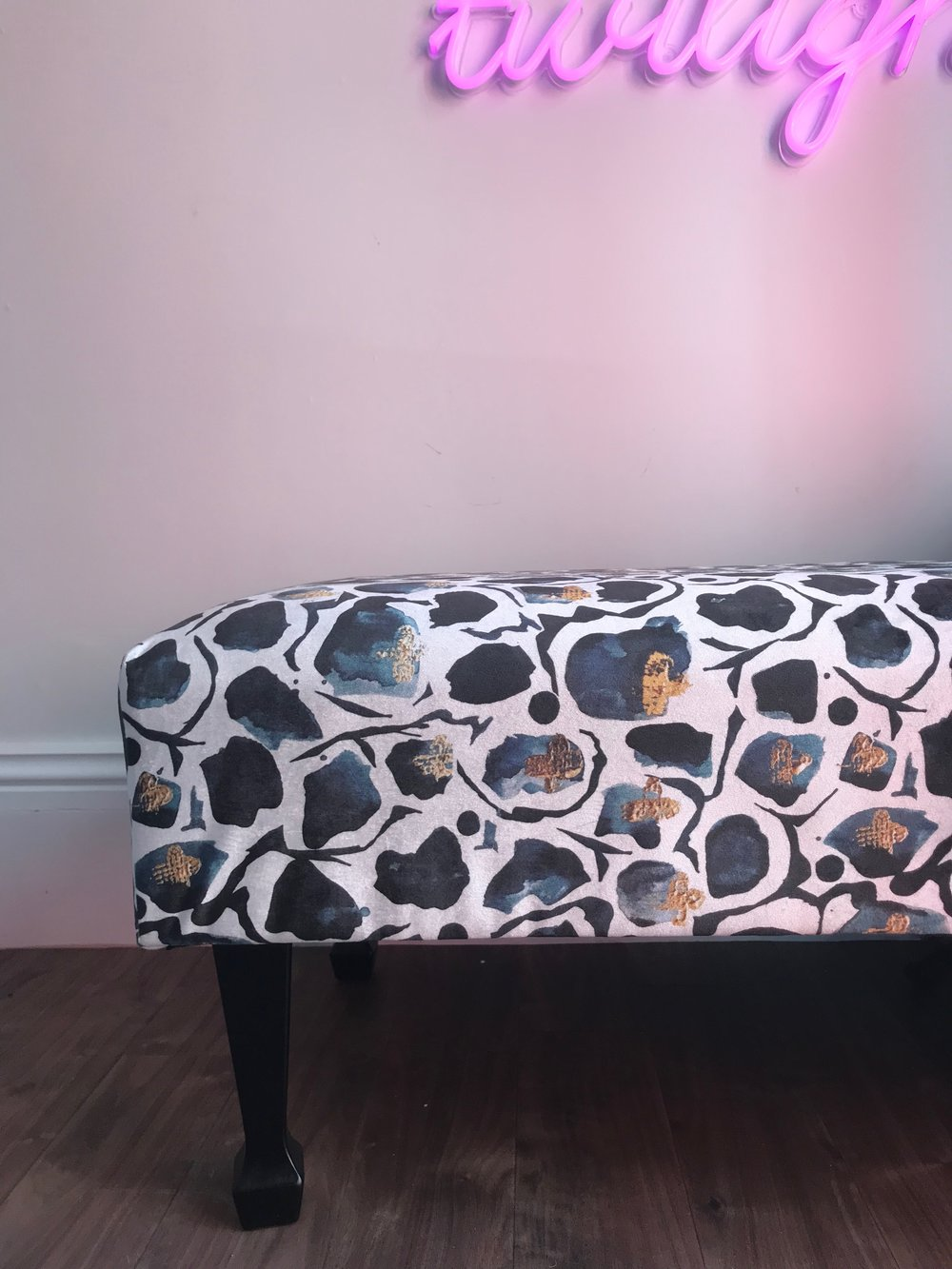 Beautiful bench by  Eye 4 Design Upholstery  in  Anna Hayman  fabric.