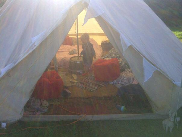 Glamping in Somerset 2012.  More rain than was experienced by Noah himself and an entrance of vomit.