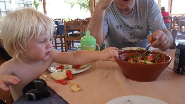 Greece 2011. It was during this holiday that I put Leo down for a lunchtime nap and he appeared in a nappy poolside about to dive in, saved only by another guest.