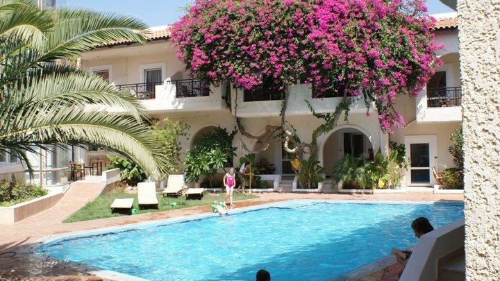 Our Crete Hotel pool where Leo attempted his Rebecca Adlington impersonation.