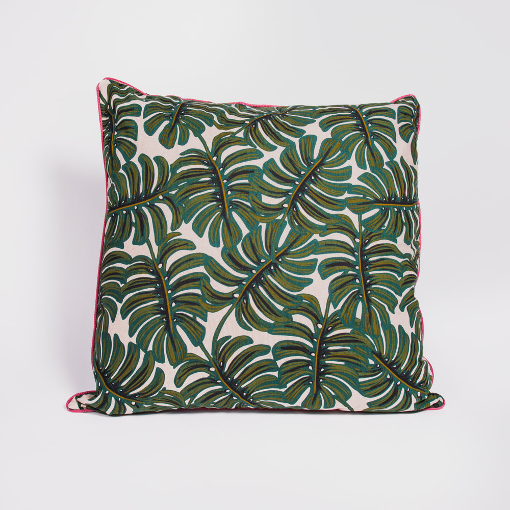 Large Monstera Cushion , Poppy & Honesty £52