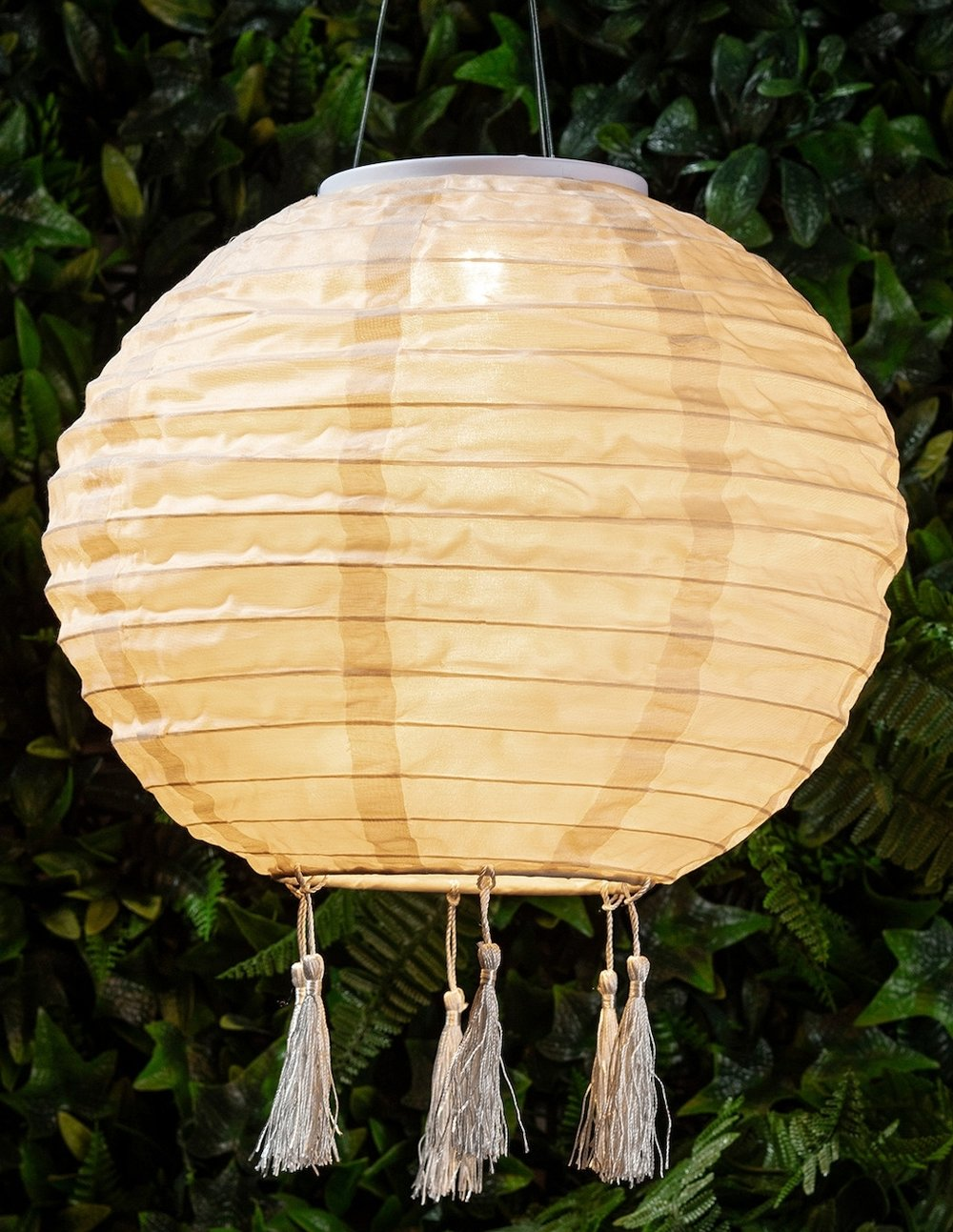 Lucena Cream Tassel Solar Lantern , Lights 4 Fun £9.99
