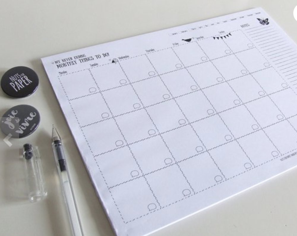 My Never Ending Monthly Things To Do Pad - Nuts For Paper, Etsy £10.71