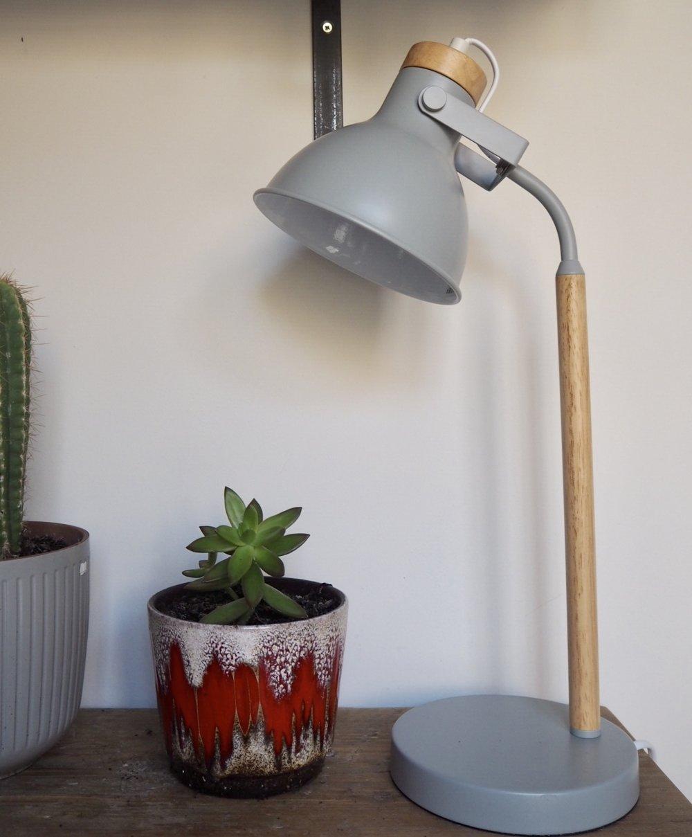 Argos Home Ruscombe Table Lamp, Light Wood & Grey