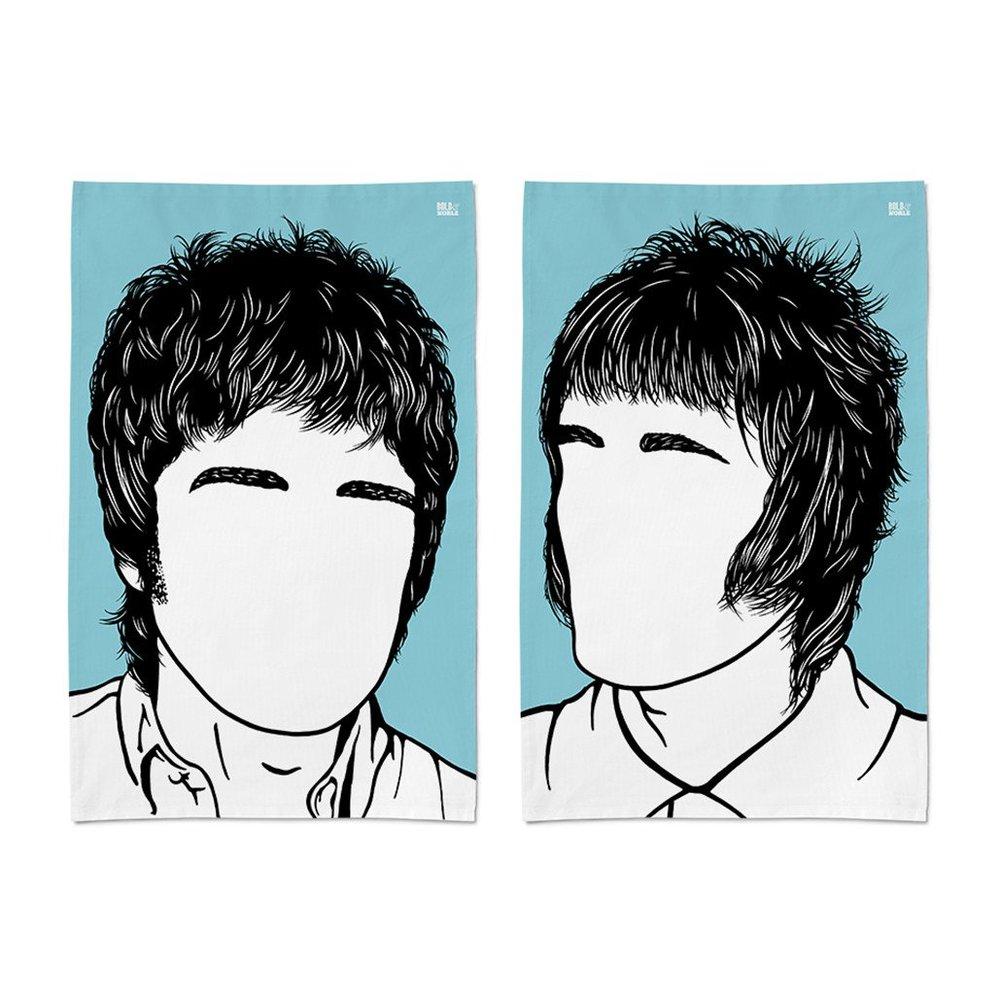Noel & Liam Gallagher Tea Towel Set  - £22  Bold & Noble