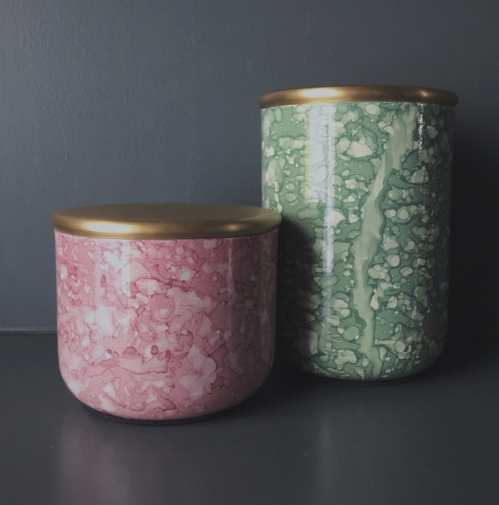 Marbled Green & Pink Storage Containers  - from £12  Homeplace