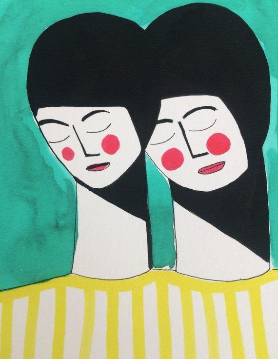 Girls In Yellow Tops  - £20  Margo McDaid, Etsy