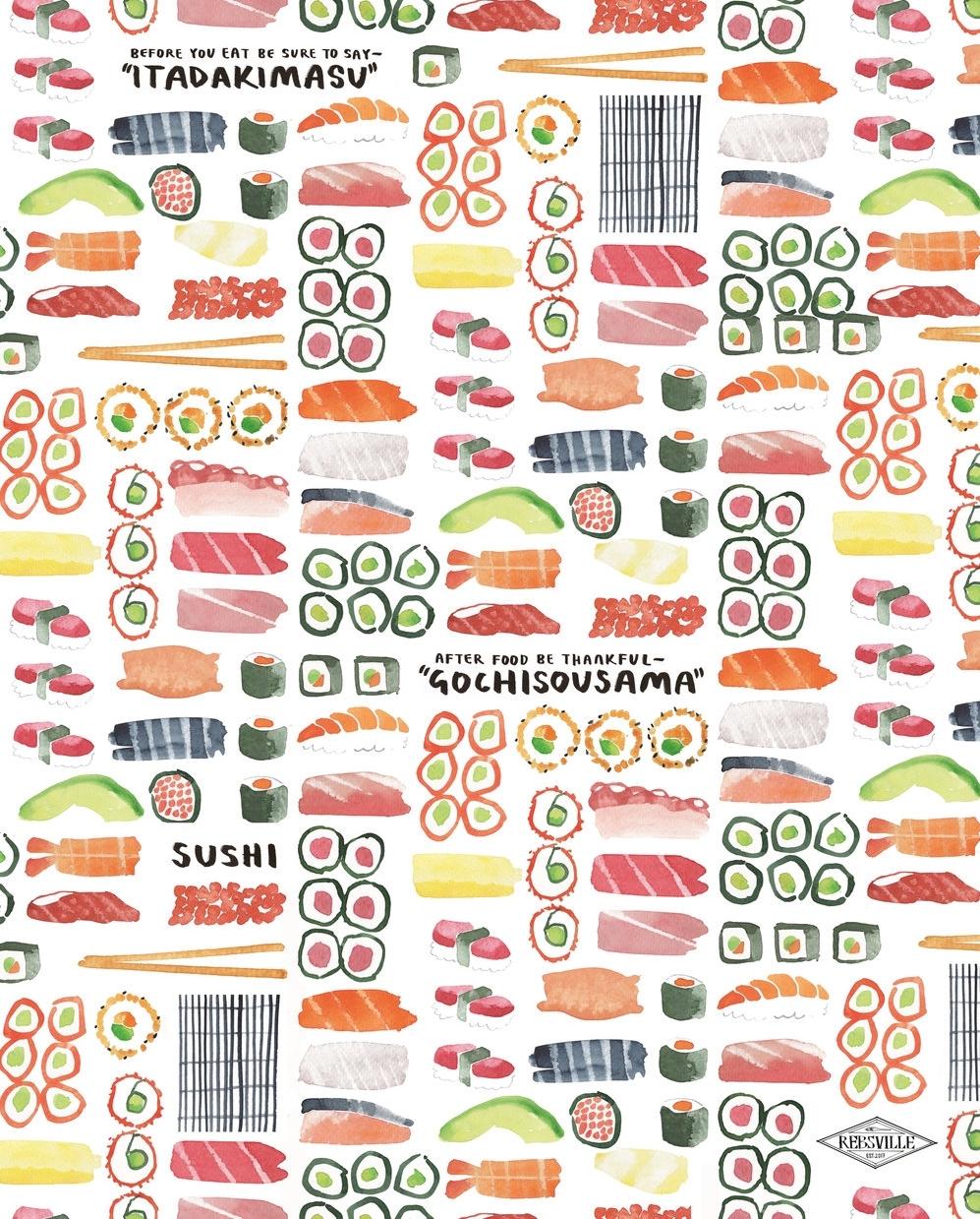 'Eat Sushi' Tea Towel  - £12.50  Rebsville Art Studio