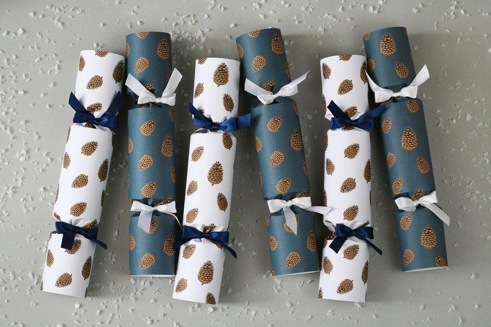 Pine Cones Christmas Crackers   Nancy & Betty Studio - £35 for six