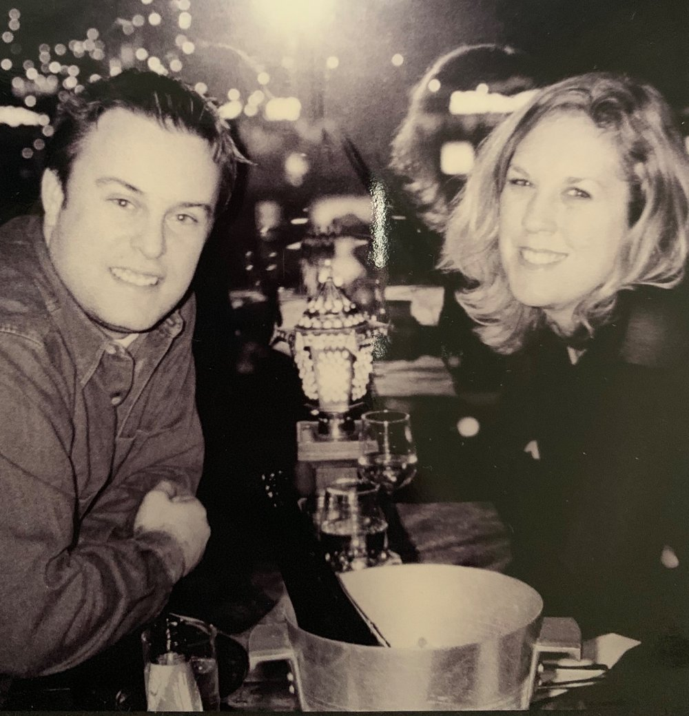 Joe and I in Amsterdam circa 1999, a rare occasion when we didn't have a takeaway.