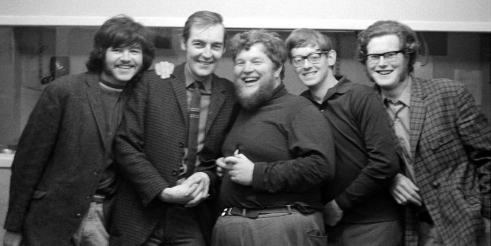 Kevin with folk group The Yetties, during a recording session, 1970