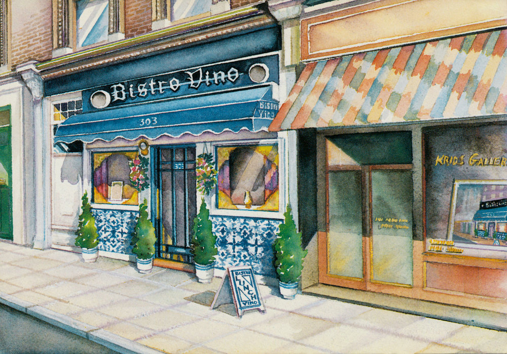 'THE BISTRO VINO' 303 FULHAM ROAD, IN A POSTCARD PAINTED BY ANN MAVROLEON, WHERE KEVIN SPENT MANY A LUNCH HOUR. PATE AND TOAST, STEAK AND CHIPS, AND CASSATA. AND MUCH WINE. NATURALLY.