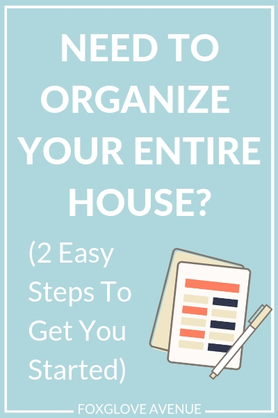 How to organize a messy house? When your entire house is a mess it's hard to know where to start organizing. Don't get messy house overwhelm. Here are 2 steps to do first to help you organize your entire house.