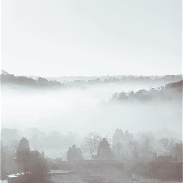 Photo-a-day #15 - Another foggy day over Bath and the surrounding area, photograph taken from Brassknocker Hill • • • #photoaday #bath #home #fog #photography #blackandwhite #landscape #ipreview @preview.app