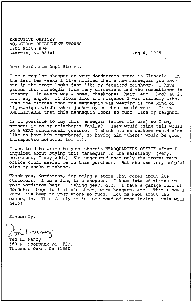 The Nordstroms Letter - Ted L. Nancy's original letter to Nordstroms department store, eventually answered by Bruce Nordstrom himself