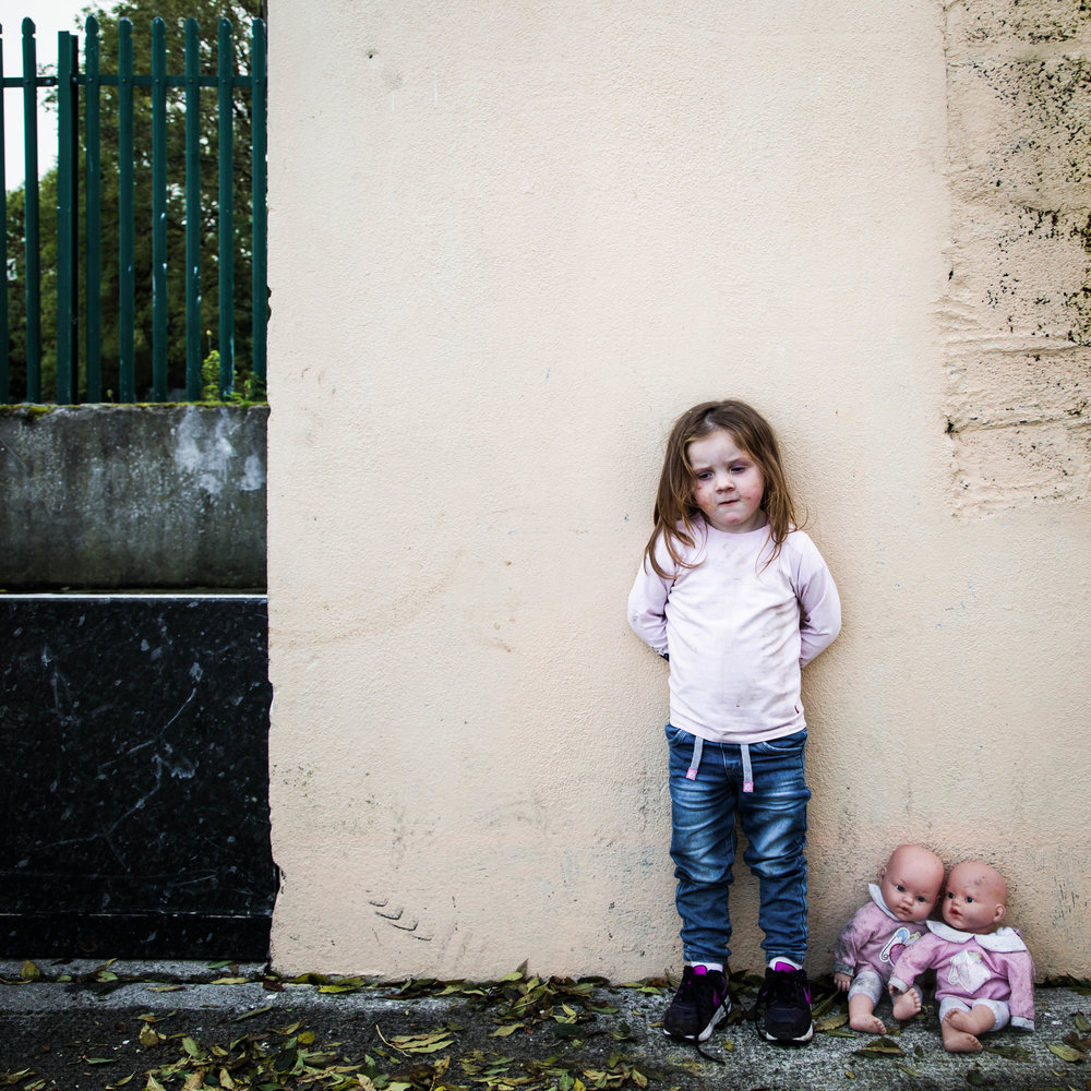 Irish Traveller Girl With Dolls