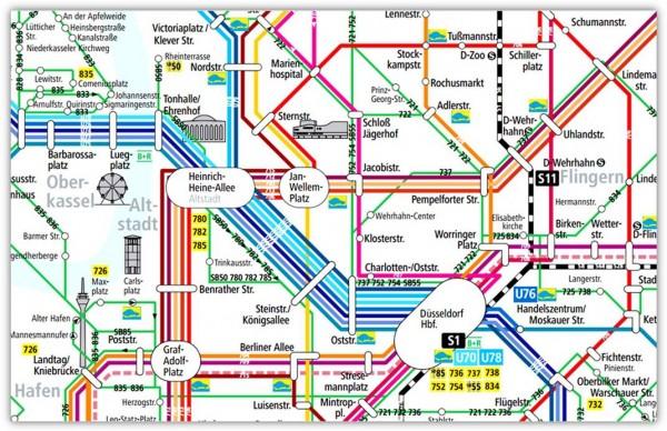 План общественного транспорта Дюссельдорфа