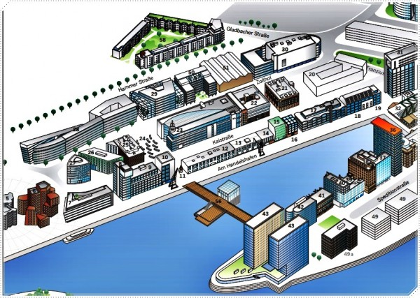 Медийная гавань - это много интересных зданий на территории бывшего порта