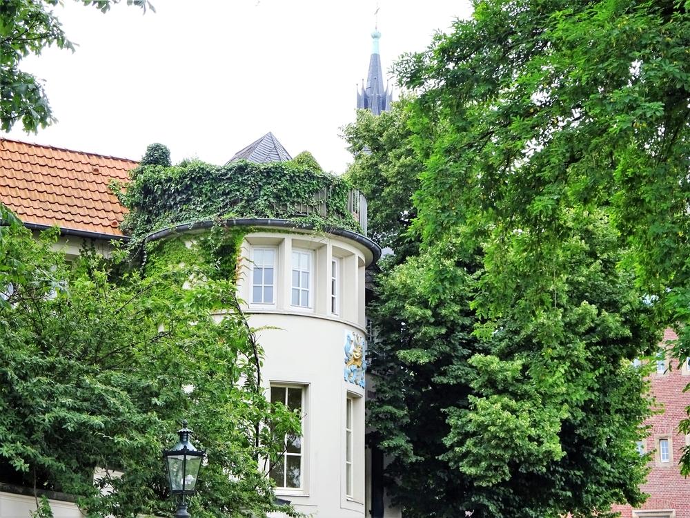 Интересный (круглый и зелёный)балкон на крыше старого дома.