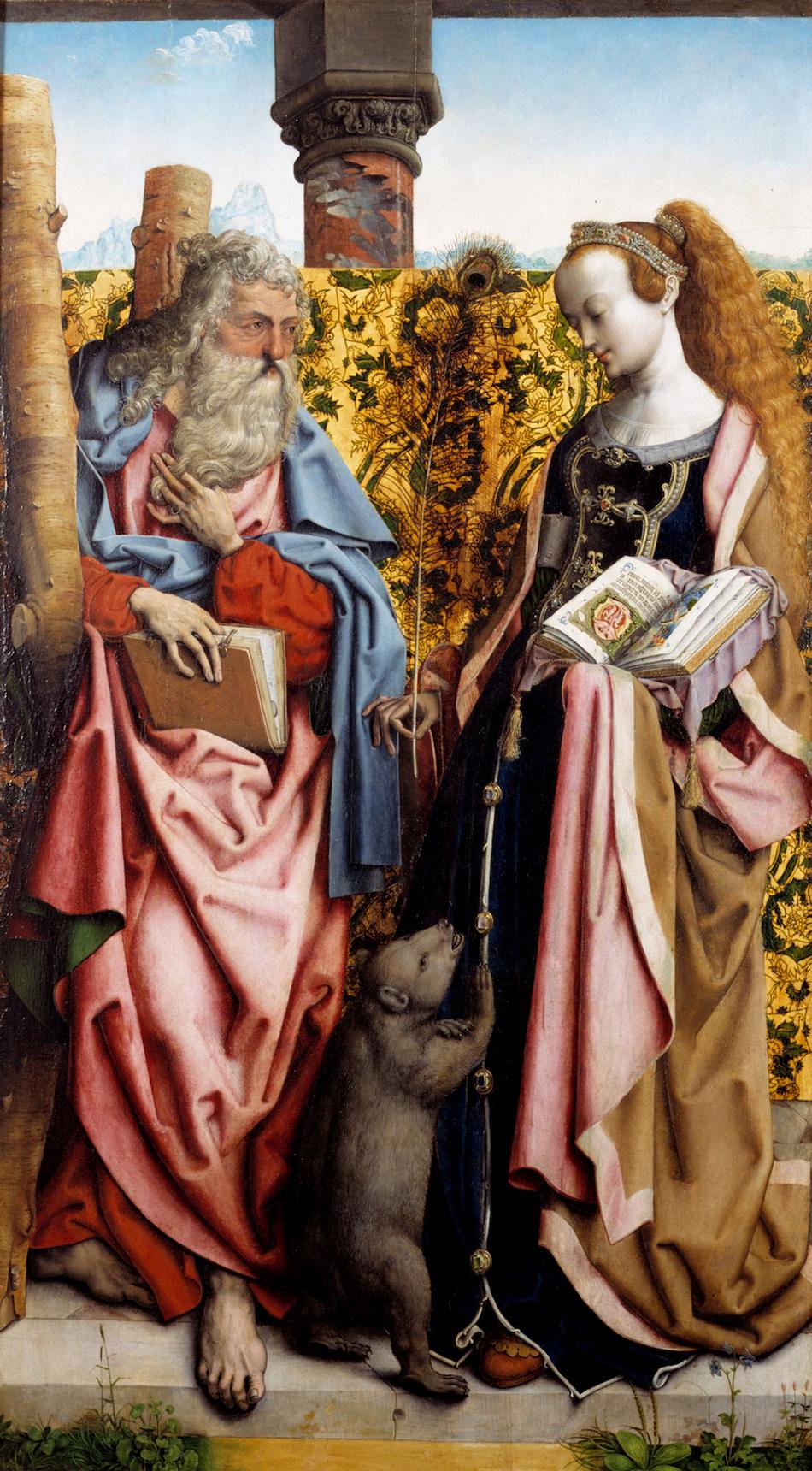 Hl  .  Andreas    und    hl  .  Columba  , 1500 – 1510, автор  Meister    des    Bartholom  ä  us  -  Altars  ,  K  ö  ln   темпера и масло по дереву, 127   x  70   cm  , хранится в музее города Майнц (Земля Рейнланд-Пфальц)