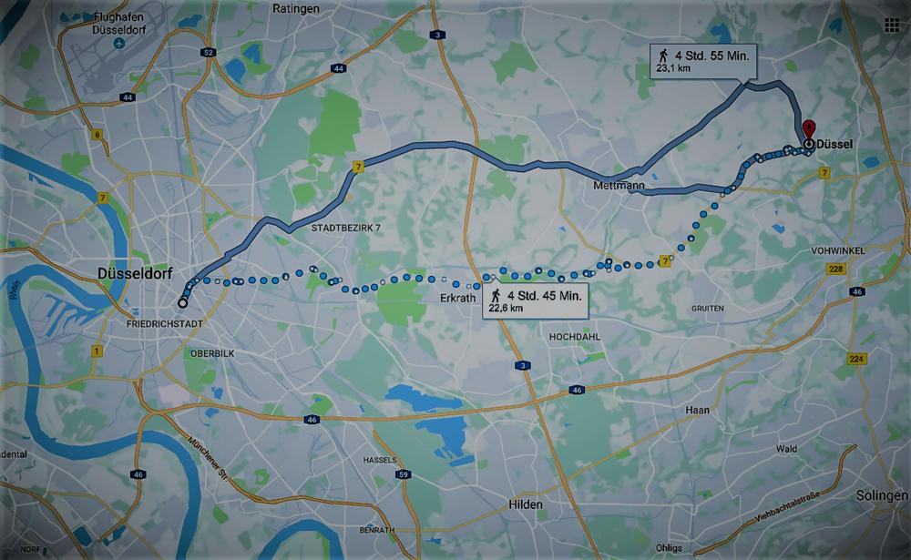 От Дюссельдорфа до Дюсселя-на-Дюсселе - 22,5 километров и 5 часов хода!