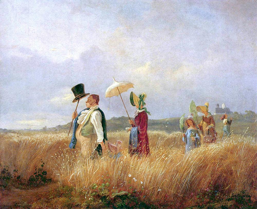 «Воскресная прогулка» мюнхенского художника Карла Шпицвега ( видели в Вене ).