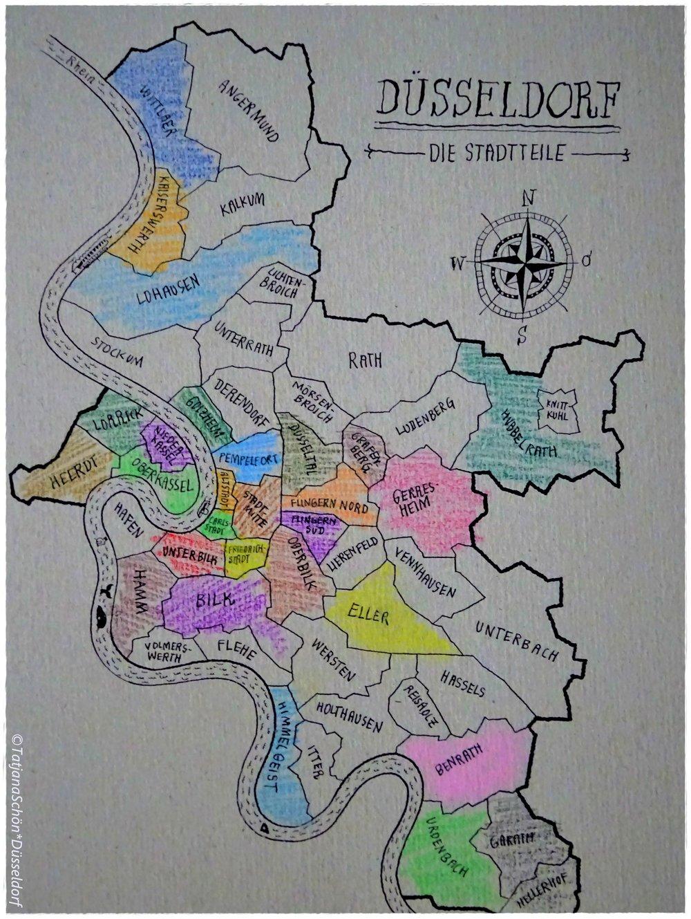 """Незакрашенными на плане Дюссельдорфа оставлены (""""на потом"""") те районы города, в которых я ((ещё)) не проводила экскурсий."""