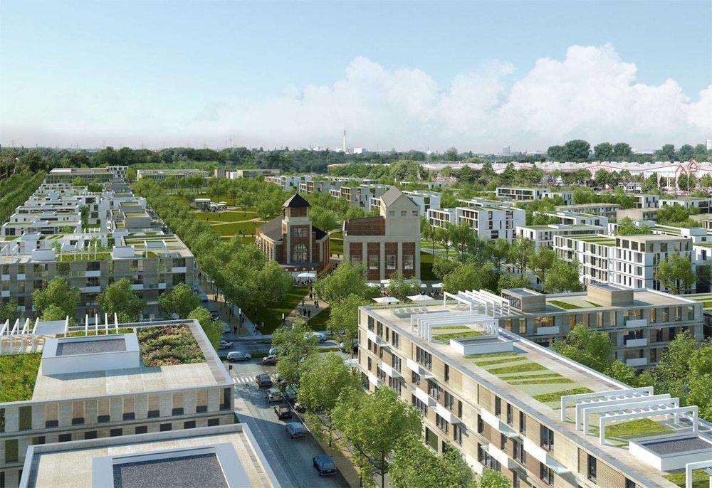 Плоские крыши будущих кварталов Дюссельдорфа.