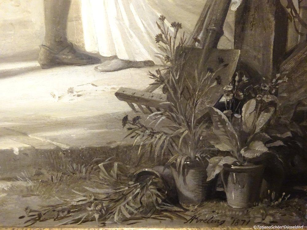 """Картина маслом (Ölgrisaille). 19 век. Фрагмент иллюстрации к """"Фаусту"""", из музея Гёте. Август фон Крелинг (нем. August von Kreling; 1819-1876; немецкий исторический живописец и скульптор)"""