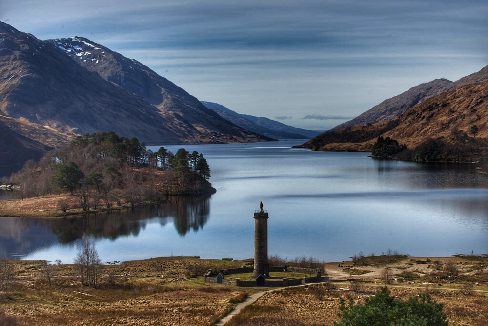 Framed amid typically spectacular Highland scenery at the head of Loch Shiel with sweeping glens as a backdrop, stands this great monument to the final Jacobite Rising.