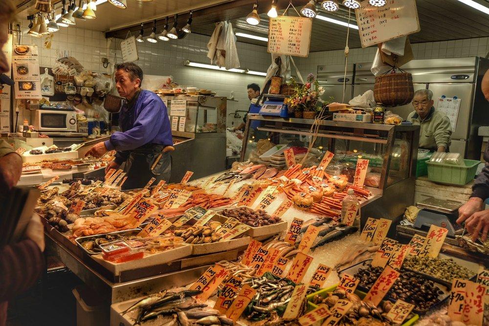 Fish monger at Nishiki Market.