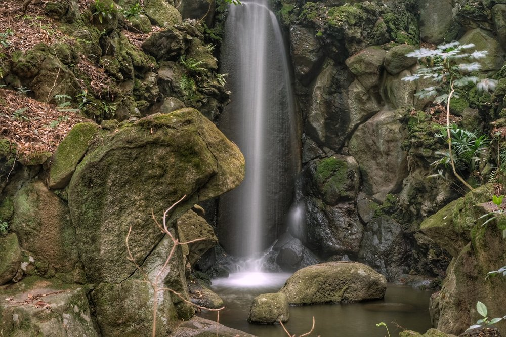 Waterfall within the gardens of Shinsh�-ji temple.