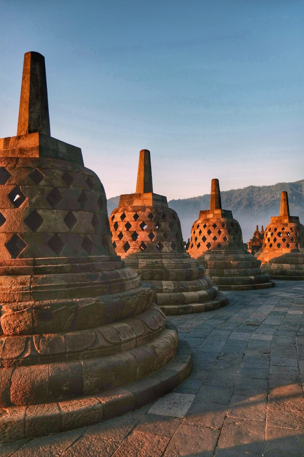 The Stupas of Borobudor at Sunrise.