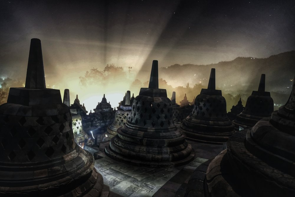 Chasing the light at Borobudor Temple.