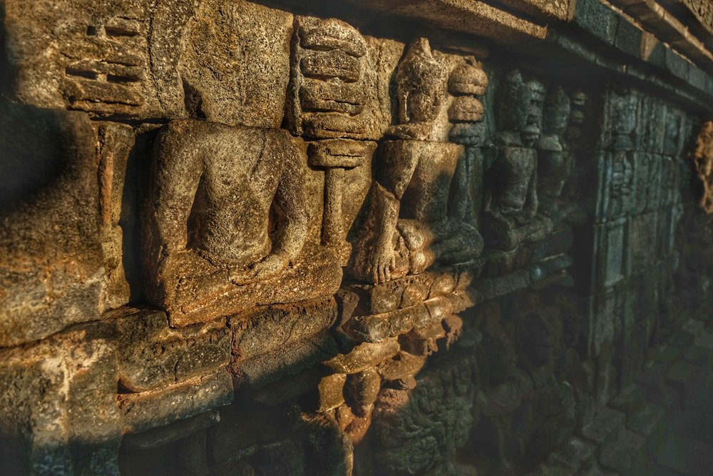 Stone carvings at Borobudor Temple.