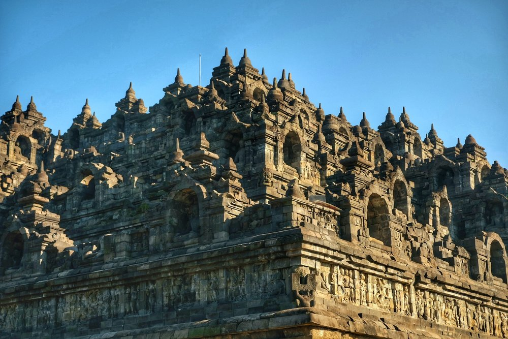 The levels of Borobudor Temple.