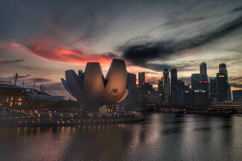 Sunset over the Singapore Skyline.